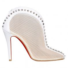 Christian Louboutin White Spike Ankle Boots | Vestiaire Collective