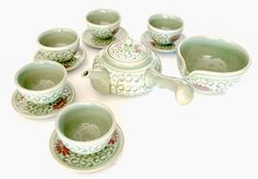 Red Flower Tea Set | Handmade Korean Celadon Teapot Set