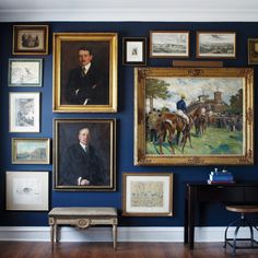 Hague blue gallery wall with artwork hung Salon style Blue Rooms, Blue Walls, Hague Blue, Wall Decor, Wall Art, Art Walls, Art Gallery, Gallery Walls, Frame Gallery