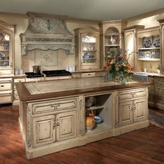 Tuscany Kitchens Old-Style | Old Style Blue and White Tuscan Italian Style Country Kitchen