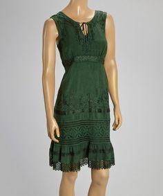 Love this Green Embroidered Notch Neck Dress on #zulily! #zulilyfinds