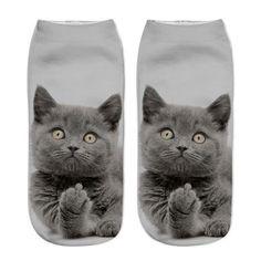 2018 New Printing Women Socks Brand Sock Fashion Unisex Socks Cat Pattern Meias Feminina Funny Low Ankle HOT Cat Socks Sock Animals, Cute Animals, Funny Animals, Cat Safe Plants, Jolie Lingerie, Funny Socks, 3d Prints, Happy Socks, Socks