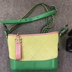 9c711c3c119729 Chanel Gabrielle Small Hobo Bag In Suede Split Calfskin & Smooth Calfskin  Pink/Yellow/Green 2017 ] : Real Purse
