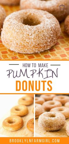 Baked Pumpkin Donuts coated in cinnamon sugar! This easy homemade recipe makes 1 dozen soft, fluffy donuts that are ready in 30 minutes! One of the BEST Fall Pumpkin dessert recipes! Easy Pumpkin Donut Recipe, Donut Recipe No Yeast, Baked Pumpkin, Donut Recipes, Pastry Recipes, Pumpkin Recipes, Fall Recipes, Dessert Recipes, Breakfast Recipes