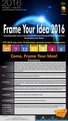 One opportunity to showcase your unique ‪#‎idea‬, ‪#‎script‬ or ‪#‎story‬ before the top players of the industry, is right here! Frame Your Idea this year at ‪#‎ficciframes16‬. For more details: http://bit.ly/FICCIFrames16_FYI16