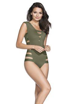 d7e8670a83dcd 2017 Agua Bendita Bendito Verdegal One Piece Swimsuit Army Green