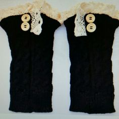 NWT Black Crochet Knit Lace Boot Cuffs Socks! A nice way to dress up your boots! I am selling a pair of brand new Black crochet knitted boot cuffs with lace trimming! I have my own pair and I get so many compliments when I wear mine! Looks good with any size boots! You can wear with jeans,  leggings or on bare skin! Feel free to ask questions and thanks for looking! Material is knitting wool  Length is about 8.6 inches.   Width is almost 4 inches. Accessories Hosiery & Socks