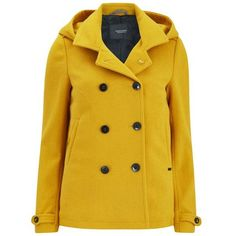 Maison Scotch Women's Wool Peacoat - Yellow ($300) ❤ liked on Polyvore featuring outerwear, coats, yellow, double breasted woolen coat, wool peacoat, yellow peacoat, yellow pea coat i double breasted peacoat