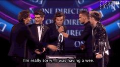 And revealed it was because he was having a wee. | The 24 Most WTF Moments From The BRIT Awards