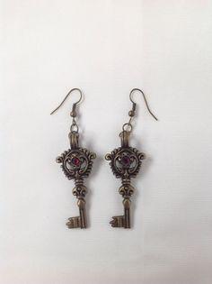 Brass Key Earrings by AnnetiqueChic on Etsy