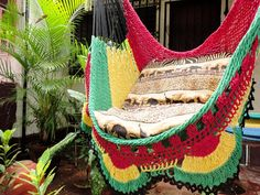 Red Yellow and Green Rasta Sitting Hammock, Hanging Chair Natural Cotton and Wood Plus Simple Fringe