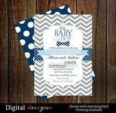 bow tie baby shower invitation boys dapper grey chevron navy polkadot little man sprinkle coed party printable u0026 printed invite