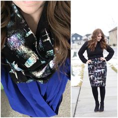 Budget Fashion Tip: Wear your stretchy pencil skirts as scarves! This Lularoe Cassie doubles as the perfect scarf.