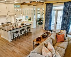 Love the openness of this family room/kitchen