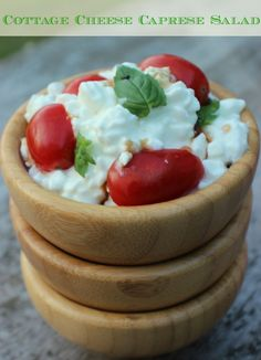 Cottage Cheese Caprese Salad is a simple high protein snack or meal that can me ready in less than 5 minutes! #Sponsored #SuperCurds