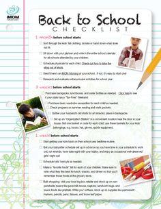 Back to School Checklist | iMOM