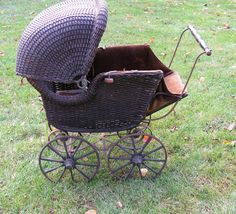 late 1800s Black Rattan Reed Wicker Childs Dome Carriage for Restoration PICKUP ONLY by @curioscity on http://www.etsy.com/listing/112676803 liked by wickerparadise, visit our wicker furniture selection.