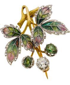 Art Nouveau Diamond, Demantoid Garnet, Plique-à-Jour Enamel, Platinum-Topped Gold Brooch, August Wilhelm Holström, Fabergé Workmaster. Russian Hallmarks.