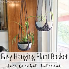 Easy Hanging Plant Basket - Cute As A Button Crochet & Craft Easy Hanging Plant Basket Pattern Crochet Plant Hanger, Macrame Plant Hanger Patterns, Macrame Plant Hangers, Diy Hanging, Hanging Baskets, Hanging Plants, Crochet Home Decor, Crochet Crafts, Free Crochet