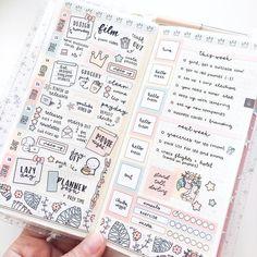 Hobonichi Weeks Printable Weekly Kit - DIY Stickers [Flamingo - Pastel Orange Yellow] Cut Lines Included Bullet Journal Notebook, Bullet Journal Ideas Pages, Bullet Journal Spread, Bullet Journal Inspiration, Book Journal, Bullet Journals, Diy Stickers, Planner Stickers, Printable Planner
