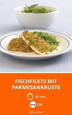 The Parmesan Encrusted Cod recipe out of our category saltwater Fish! EatSmarter has over healthy & delicious recipes online. Parmesan, Olive Oil And Vinegar, Cod Recipes, Eat Smarter, Serving Plates, Yummy Food, Healthy Food, Seafood, Stuffed Peppers