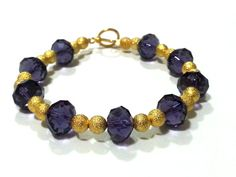 7.5 Inch Purple and Gold Crystal Bracelet by DCArtandPhotography, $12.99