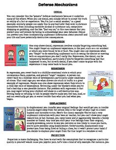 Defense Mechanism Worksheet | Ap psychology, Denial and Worksheets