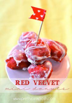 Red Velvet Mini Donuts | Recipe via Pretty Pink Posh