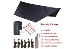 Premium Quality 12' Hammock Rain Fly & Tent Shelter By Boundary Waterz - Waterproof & Sturdy Construction - Lightweight & Easy To Set Up, Stakes Included - Ideal For Camping, Backpacking, Canoeing  THE ULTIMATE RAIN FLY IS HERE! Extremely versatile, lightweight, and tough, our rain tarp is super large and comes with stabilizing stakes for maximum comfort and protection from sun, snow, or wind! Enjoy excellent coverage combined with incredible, rip-stop nylon material quality for all of...