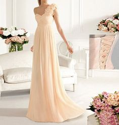 Champagne bridesmaid dress, cheap bridesmaid, one shoulder bridesmaid dress, long bridesmaid dress, chiffon prom, prom dresses, RE269 on Wanelo