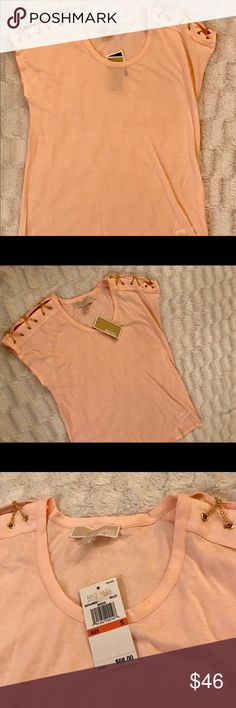 Michael Kors Small Ballet Pink Top Gold Chains NWT Super cute Michael Kors t shirt with gold chains on the shoulders. Size small. Color-Ballet Retail price-$68 Michael Kors Tops Tees - Short Sleeve