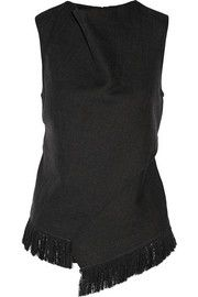 3.1 Phillip Lim Fringed wool and silk wrap-effect top