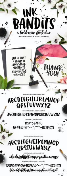 Ink Bandits Font Duo. A bold and beautiful hand lettered script font (affiliate link)