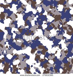 Seamless fashion blue gray brown and white camouflage pattern vector