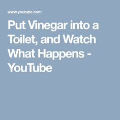 Put Vinegar into a Toilet, and Watch What Happens - YouTube
