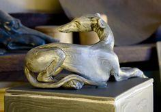 Ceramic Greyhound sculpture Sarah Regan Snavely