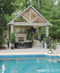 It's hard to beat this pavilion for an inviting spot to get away from the heat. Backyard Pavilion, Outdoor Pavilion, Backyard Garden Landscape, Backyard Patio Designs, Backyard Landscaping, Backyard Ideas, Patio Ideas, Landscaping Ideas, Pool Ideas