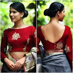 moda Wunderschöne Bluse Women's Leather Coats: Beautiful and Functional! Saree Jacket Designs, Saree Blouse Neck Designs, Saree Blouse Patterns, Fancy Blouse Designs, Designer Blouse Patterns, Designer Saree Blouses, Boat Neck Saree Blouse, Indian Blouse Designs, Brocade Blouse Designs