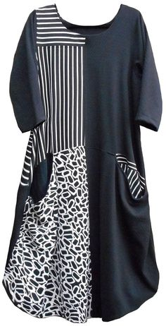"""Lagenlook style dress by indie designer. Pheenie is a womens pullover dress with 3/4 length sleeves. Features horizontally inset pockets at each side of the drop waist seam. The front has 4 large panels and the option to make a 5th or 6th small """"yoke"""" style panel at each top front"""