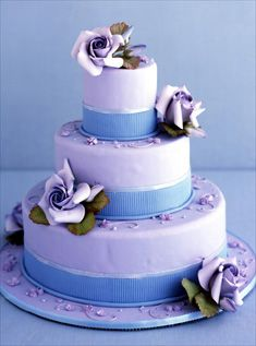 lavender and periwinkle or blue cake