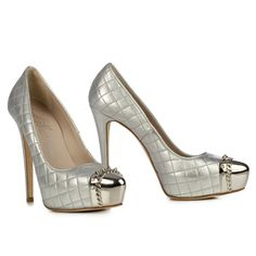 LE SILLA Quilted Leather Pump in Silver