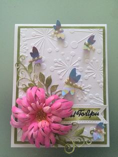 A little card with the Heartfelt Creations Enchanted Mums set