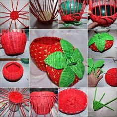 DIY Strawberry Basket from Rolled Newspaper Tubes