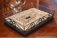 Ottoman Tray Lined With Wine Corks