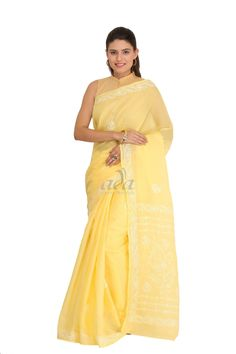 Ada Hand Embroidered Yellow cotton Lucknowi Chikankari Saree with Blouse
