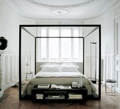 The modern canopy bed was designed by Antonio Citterio.Canopy bed with curtain hanging from the frame generally furnish sleeper a safe ambience.This canopy bed frame was made of solid wood with White Bedroom, Dream Bedroom, Modern Bedroom, Modern Canopy Bed, Serene Bedroom, White Canopy, Bedroom Small, White Bedding, Small Rooms