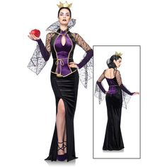 Womens Disney Evil Queen Costume (295 BRL) ❤ liked on Polyvore featuring…