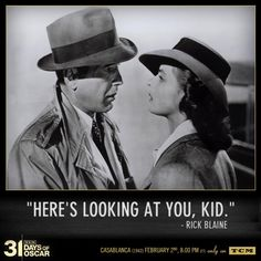 one of the all-time classics. And this line is one of the 100 greatest movie quotes of all time.according to the American Film Institute. (My all time favorite. Love Movie, I Movie, Movie Stars, Humphrey Bogart, Casablanca 1942, Casablanca Movie, Casablanca Quotes, Film Music Books, Music Tv