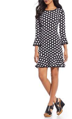 MICHAEL Michael Kors Simple Polka Dot Print Matte Jersey Flounce Dress