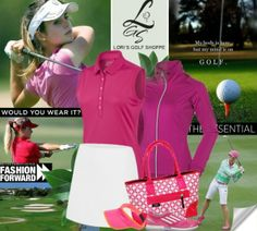 Gotta love Lori's Golf Shoppe in pink! Check out lorisgolfshoppe.polyvore.com for some golf fashion inspiration! #golf #fashion #ootd #lorisgolfshoppe